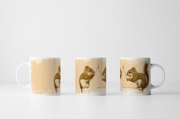 Tasse Zwei Eichhörnchen mit Wünschelrute