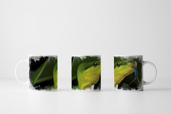 Tasse Grüne Spitzkopfnatter