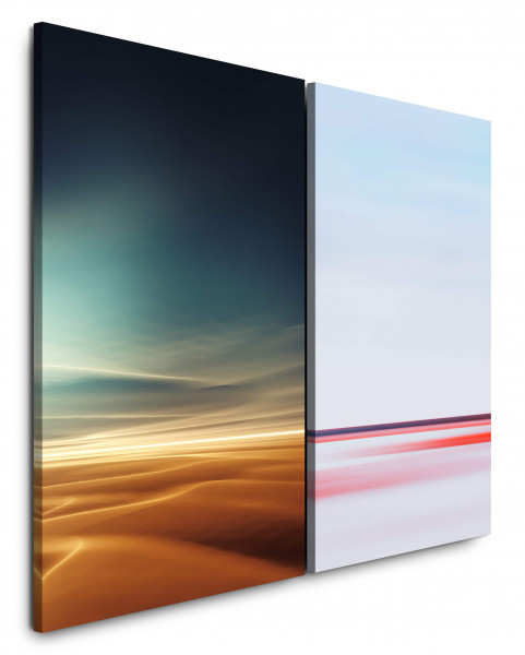 2 Bilder je 60x90cm Horizont Sahara Himmel Rosa Minimal Sonnenuntergang Abstrakt