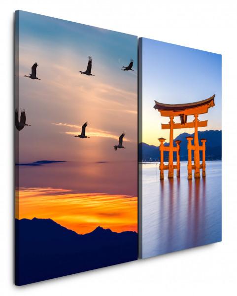 2 Bilder je 60x90cm Miyajima Schrein Kraniche See Berge Sonnenuntergang Japan