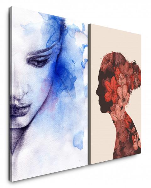 2 Bilder je 60x90cm Aquarell Portrait Frauen Gesicht Blau Blumen Chic