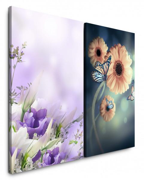 2 Wandbilderje 60x90cm Blumenstrauß Blumen Schmetterling Farbenfroh Fotokunst Makro Frühling