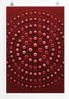 Poster abstrakt - Metallkugeln auf rotem Grund