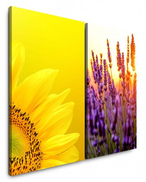 2 Bilder je 60x90cm Lavendel Sonnenblume Gelb Sommer Wiese Sonne Makro