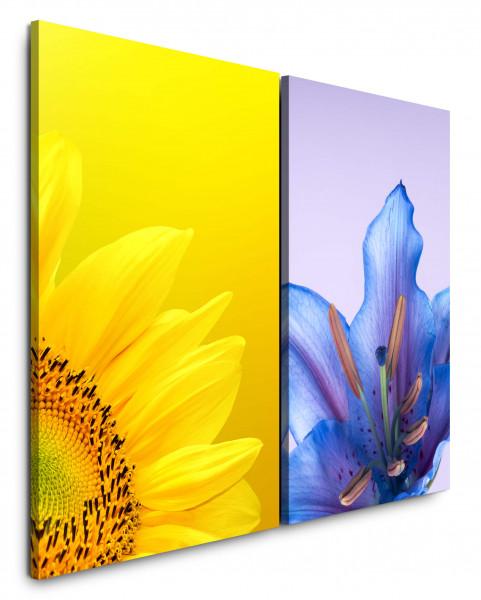 2 Wandbilderje 60x90cm Sonnenblume Gelb Blumen Blaue Blüte Makro Nahaufnahme