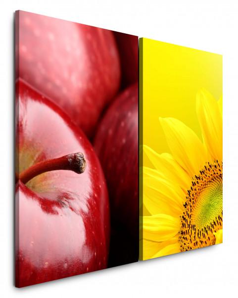 2 Bilder je 60x90cm Apfel Rot Sonnenblume Gelb Makro Küche Essen