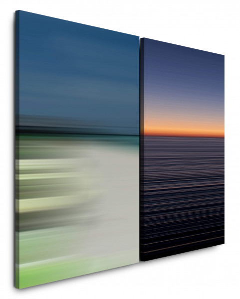 2 Bilder je 60x90cm Horizont Abendröte Minimal Strand Sonnenuntergang Himmel Büro