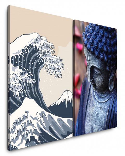 2 Bilder je 60x90cm Buddha Kanagawa Buddhismus Welle Japan Harmonisch Katsushika