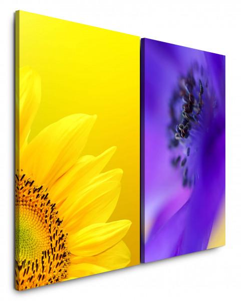 2 Bilder je 60x90cm Sonnenblume Gelb Sommer Blau Blüte Nahaufnahme Makrofotografie