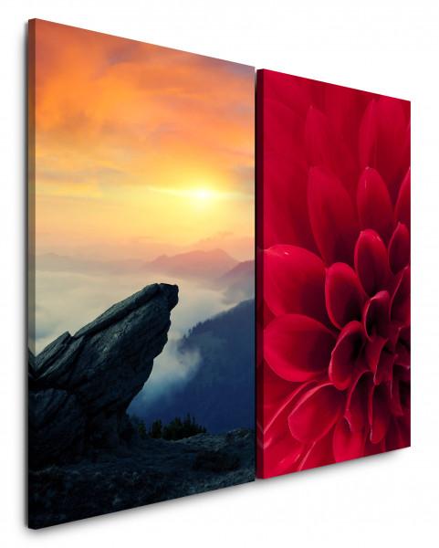 2 Bilder je 60x90cm Dahlie Rot Blume Felsen Berge Sonnenuntergang Makrofotografie