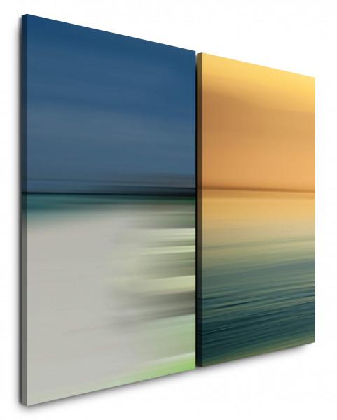 2 Bilder je 60x90cm Horizont Wasser Mehr Gold Blau Minimal Modern