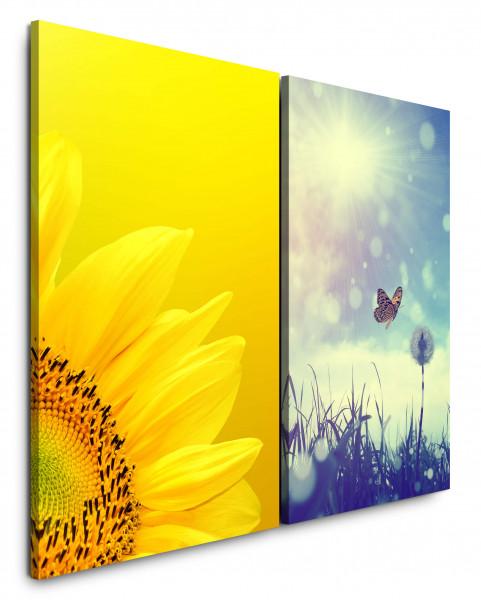 2 Bilder je 60x90cm Sonnenblume Gelb Pusteblume Schmetterling Sonne Sommer Wiese