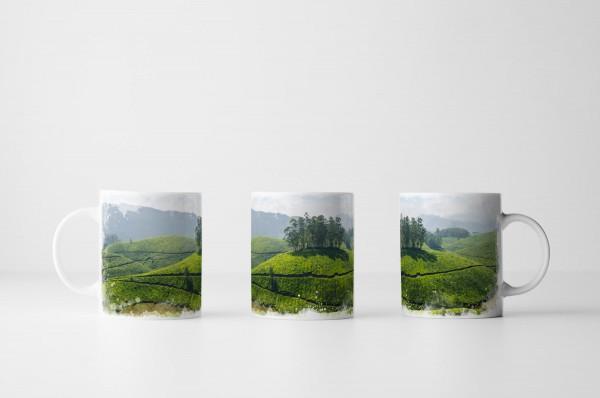 Tasse Teeplantage Munnar Kerala Indien