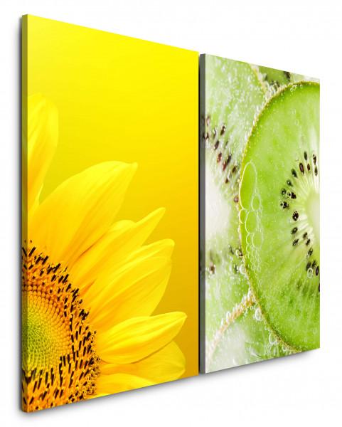 2 Wandbilderje 60x90cm Sonnenblume Gelb Kiwi Küche Essen Grün Frisch