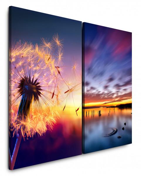 2 Bilder je 60x90cm Pusteblume Sommer Abenddämmerung Abendröte Horizont Meer Wolken