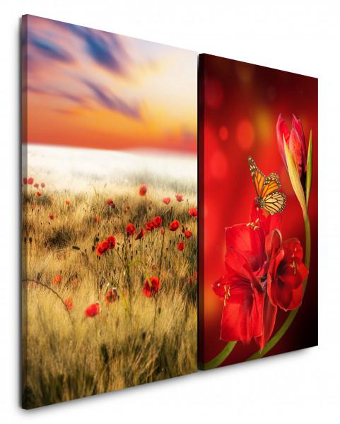 2 Bilder je 60x90cm Sommerfeld Mohnblumen Schmetterling Rot Blumen Himmel Sommer