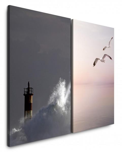 2 Bilder je 60x90cm Leuchtturm Sturm Wellen Möwen Meer Riesenwelle Horizont
