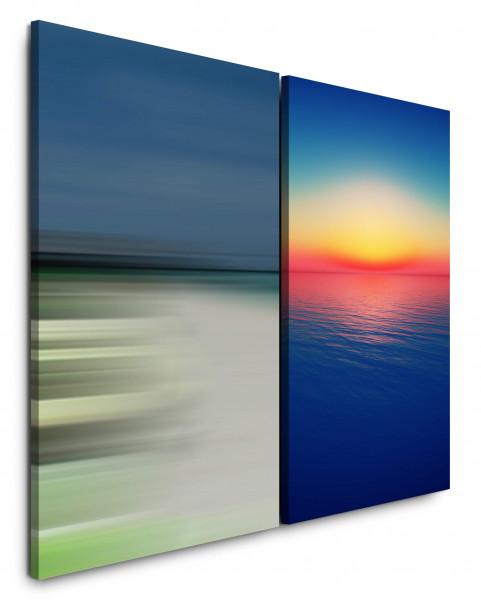2 Bilder je 60x90cm Meeresblick Meer Strand Sonnenuntergang Harmonisch Horizont Abendröte