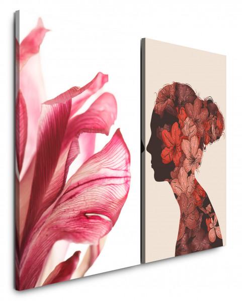 2 Bilder je 60x90cm Blumen Rot Silhouette Frau Romantisch Vintage Chic