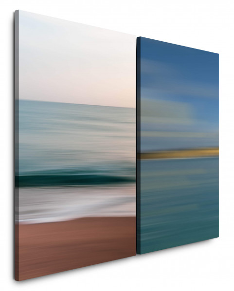 2 Bilder je 60x90cm Pastelltöne Wellen Strand Horizont Abstrakt Modern Meditation