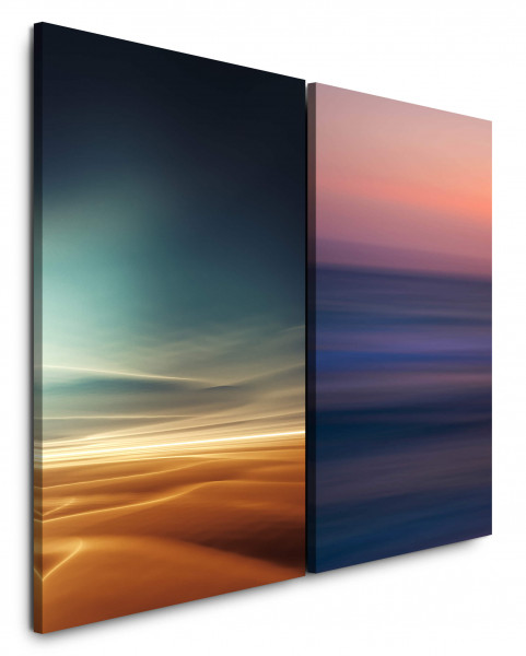 2 Bilder je 60x90cm Wüste Sahara Sonnenuntergang Pastelltöne Gold Harmonie Horizont