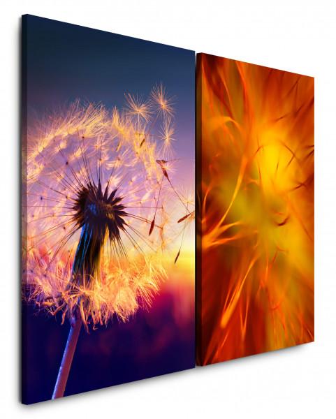 2 Bilder je 60x90cm Pusteblume Makro Orange Sommer Feeling Abendröte Blume
