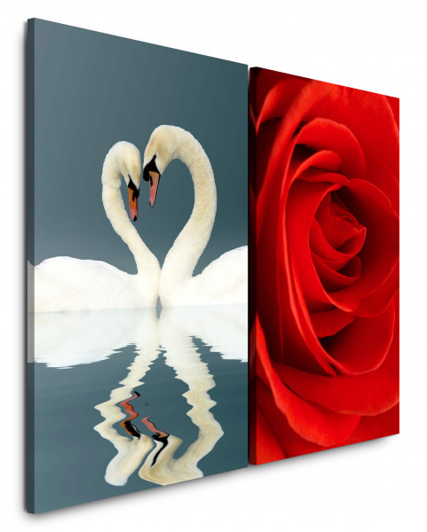2 Bilder je 60x90cm Liebe Schwäne Herz Rose Rot Romantisch Liebende