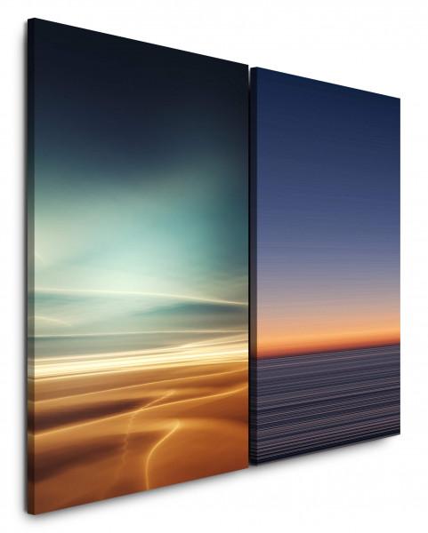 2 Bilder je 60x90cm Wüste Sahara Horizont Abstrakt Minimal Sonnenuntergang Himmel