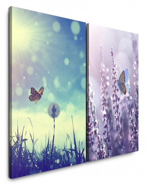 2 Bilder je 60x90cm Sommer Schmetterling Lavendel Sonne Himmel Sonnenschein Pusteblume