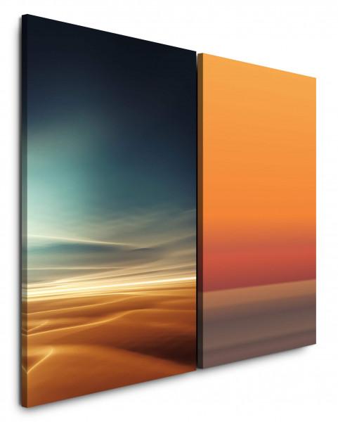 2 Bilder je 60x90cm Wolken Himmel Horizont Wüste Sahara Orange Sonnenuntergang