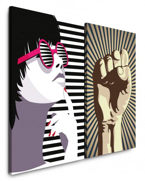 2 Bilder je 60x90cm Pop Art Revolution Sonnenbrille Chic Feminin Streifen