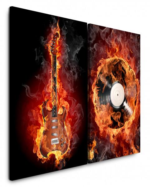 2 Wandbilderje 60x90cm E-Gitarre Flamen Feuer Heiß Heavy Metal Schallplatte