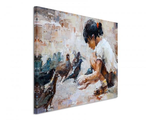 Leinwandbild Mädchen mit Tauben gemalt