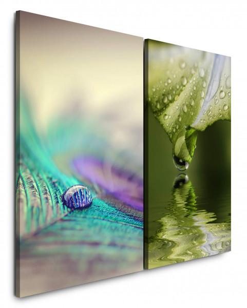 2 Wandbilderje 60x90cm Pfaufeder Tropfen Nahaufnahmen Grün Frisch Blatt Wasser