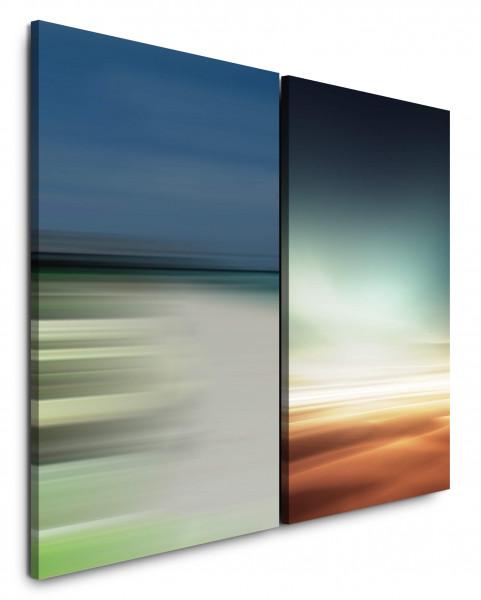 2 Wandbilderje 60x90cm Wüste Sahara Horizont Minimal Abstrakt Blau Gold