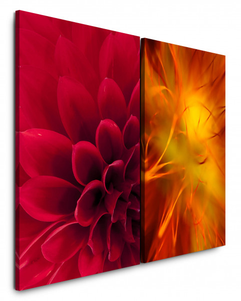 2 Bilder je 60x90cm Dahlie Rot Orange Nahaufnahme Makro Blüten Blume