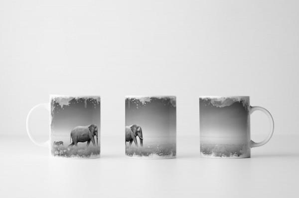 Tasse Elefant und Zebra
