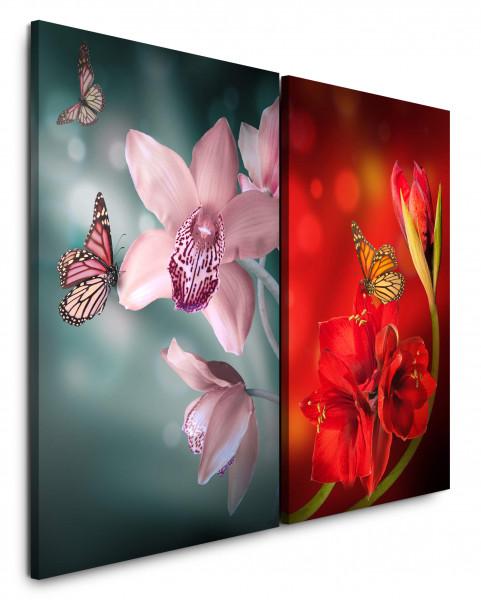 2 Bilder je 60x90cm Blumen Schmetterlinge Nahaufnahmen Bestäubung Sommer Großaufnahmen Makrofotograf