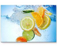Premium Leinwandbild Zitrusfrüchte in sprudelnden Wasser