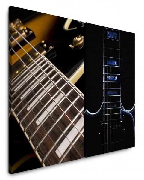 2 Bilder je 60x90cm Gitarre Gitarrensaiten Makro Musik Rock Roll Musiker