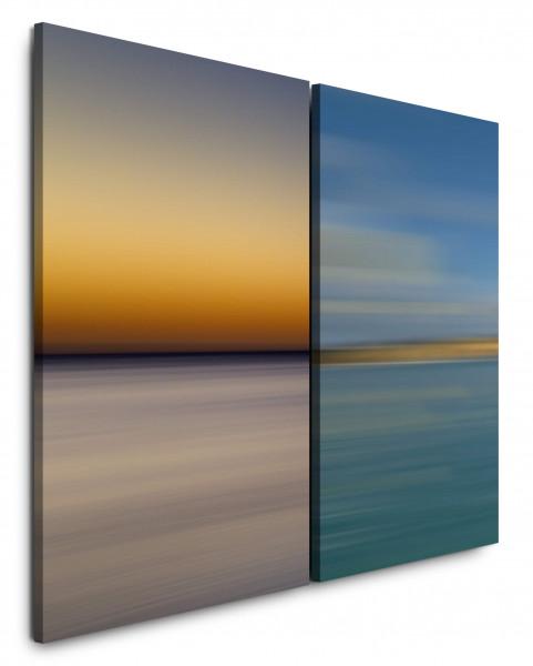 2 Wandbilderje 60x90cm Horizont Abendröte Abenddämmerung Abstrakt Minimal Blau Meer