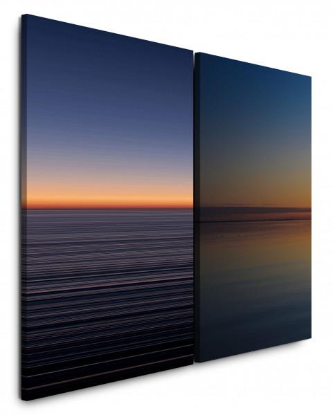 2 Bilder je 60x90cm Horizont Meer Sonnenuntergang Abenddämmerung Himmel Minimal Fotokunst