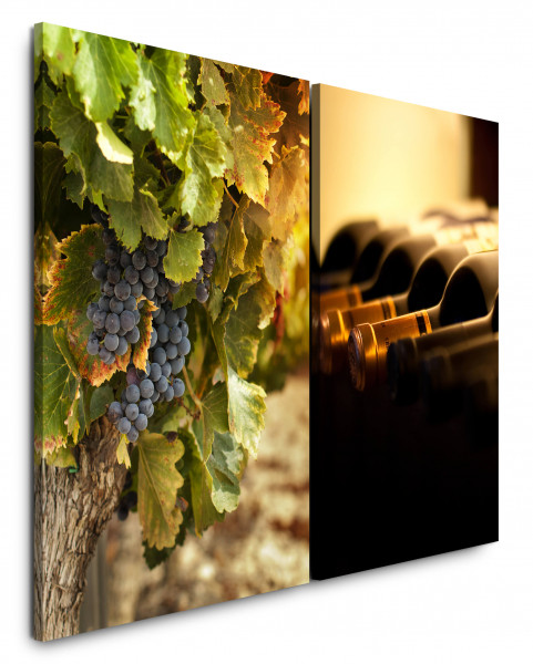 2 Bilder je 60x90cm Weintrauben Süden Frankreich Weinflaschen Wein Mediterran Küche