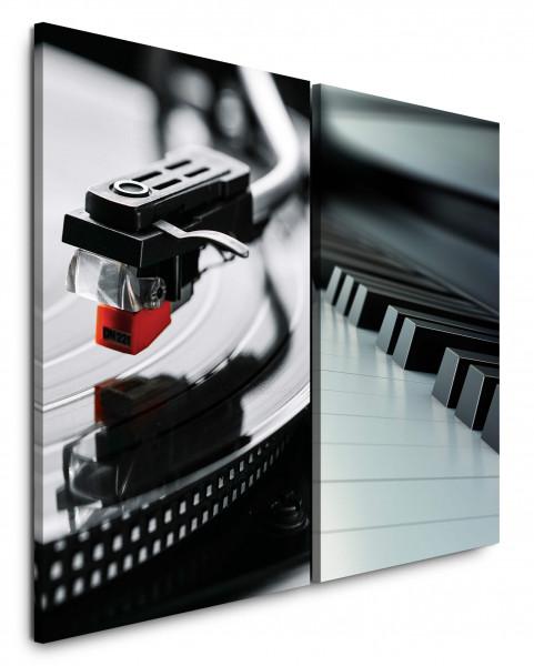2 Bilder je 60x90cm Klavier Klaviertasten Plattenspieler Audiophile Vinyl Musik Schallplatte