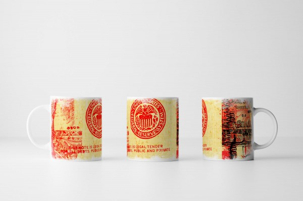 Tasse Rot Orange Dollarnote