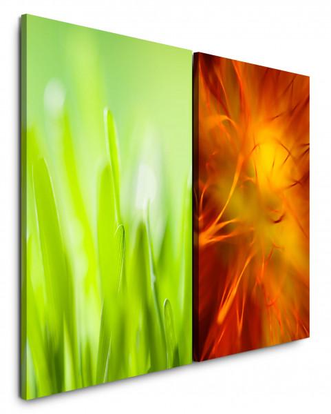 2 Bilder je 60x90cm Grün Frisch Orange Makro Wiese Gras Sommer