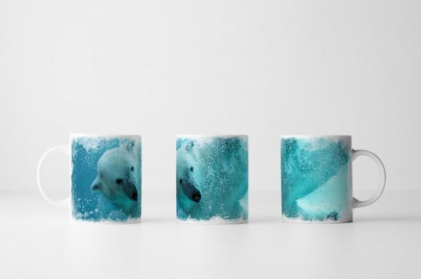 Tasse Eisbär unter Wasser