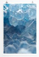 Poster abstrakt - Blaue Quartzkristalle