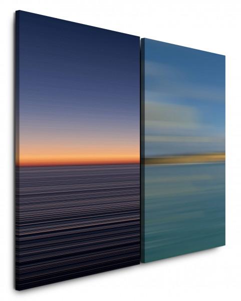 2 Wandbilderje 60x90cm Horizont Abendröte Minimal Harmonisch Sanft Entspannend Frieden