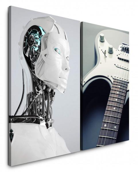 2 Bilder je 60x90cm Elektro Musik Roboter Cyborg KI E-Gitarre Technik